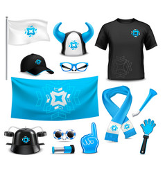 Sport club fans accessories realistic set vector