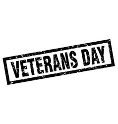 Square grunge black veterans day stamp vector