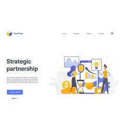 Strategic partnership landing page success vector