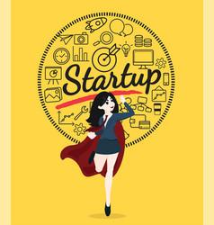 superhero business woman cartoon for start up vector image
