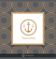 Three anchor emblem with circular rope in frame vector