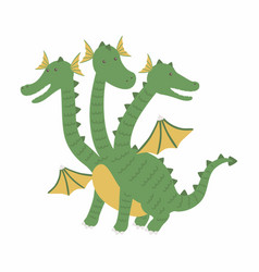 Three headed dragon ancient mythical creature vector