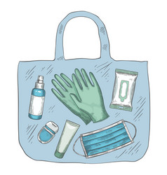 travel sanitizer kit disinfectant medical mask vector image