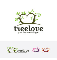 tree love logo vector image