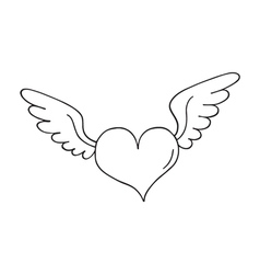 Valentines heart with wings vector