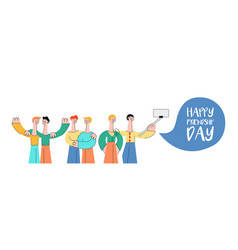vecot happy friendship day concept characters set vector image