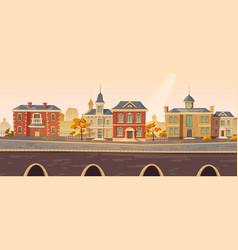 Vintage city autumn street with european buildings vector