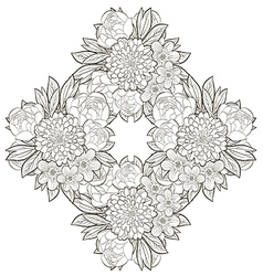 Vintage round frame with flowers vector