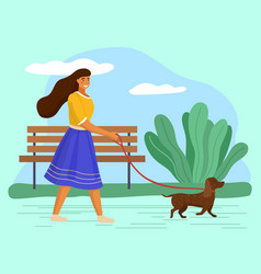 Walk with dog in park woman is going with a vector