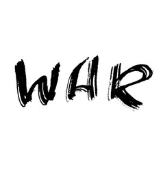 War ink hand drawn lettering modern dry brush vector