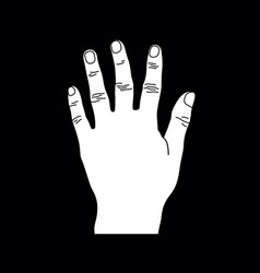 White number five hand gesture sillhouette vector