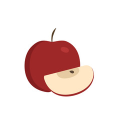 Whole and slice red apples icon in flat design vector