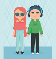 Young couple with sunglasses and headset urban vector