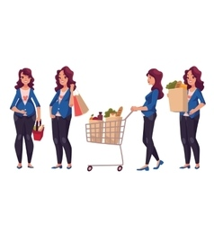 Young pregnant woman with shopping bags basket vector image