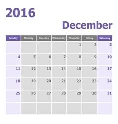 Calendar December 2016 week starts from Sunday vector image