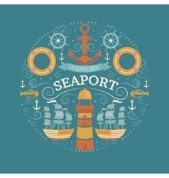 Concept with sea symbols vector image vector image