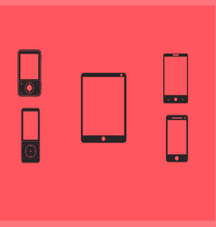 mobile phones and tablets on a red background vector image vector image
