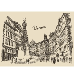 Streets in Vienna Austria hand drawn vector image vector image