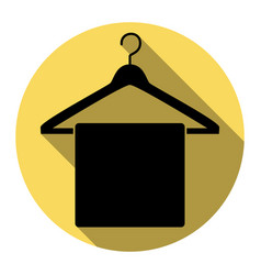 towel on hanger sign flat black icon with vector image