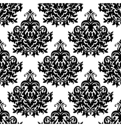 Victorian black lush flowers in damask seamless vector image