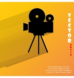 Videocamera Flat modern web button with long vector image vector image