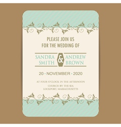 wedding invitation with blue vector image vector image