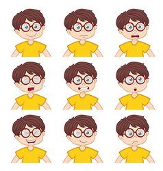 boy faces showing different emotions vector image vector image