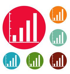 finance chart icons circle set vector image vector image