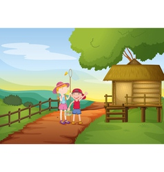 kids and house vector image vector image