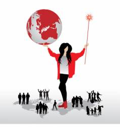 magic woman with world map vector image vector image