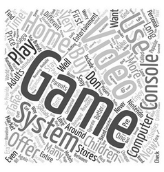 used video game systems text background wordcloud vector image vector image