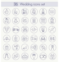 Wedding Outline icon set Thin line style vector image