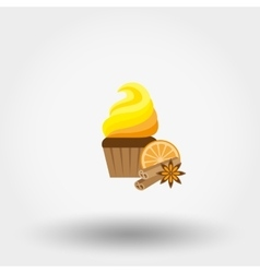 Cupcake icon flat vector image vector image