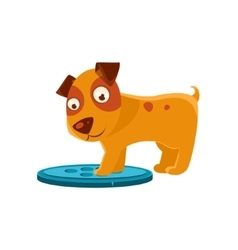 Curious Puppy Stepping On Trapdoor vector image