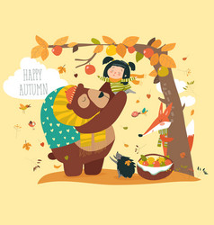 Funny bear with cute girl harvesting apples vector