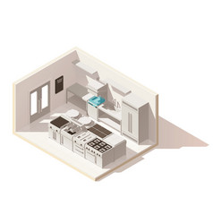 Isometric low poly professional kitchen vector