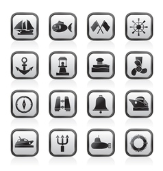 sea and nautical icons vector image vector image