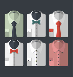 set of different flat-style shirts with ties and vector image