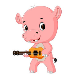 a funny singing hippo playing the guitar vector image vector image