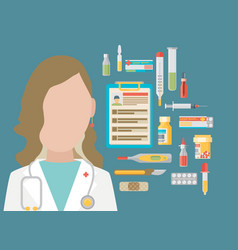 Medicine concept in modern flat design style with vector