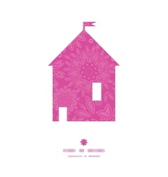 pink abstract flowers texture house silhouette vector image vector image