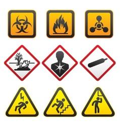 Warning symbols hazard signssecond set vector