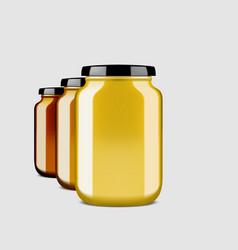 3d clear glossy honey jar with shadow vector