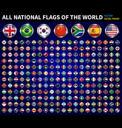 All national flags world circle metal vector
