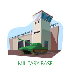 american or usa military base building and tank vector image