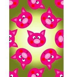 animal pig cartoon seamless pattern vector image