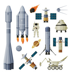 astronaut space objects and cosmos exploration vector image