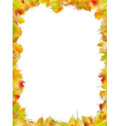 Autumn leaves frame isolated on white eps 10 vector