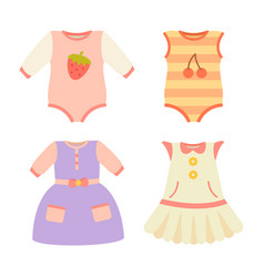 Baby clothes collection dress vector