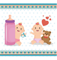 Baby shower card with little kids vector